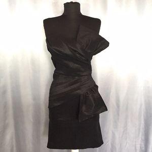 Arden B shimmer ribbon strapless dress
